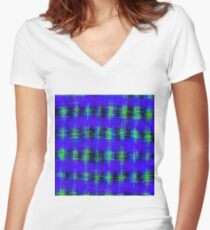 plaid pattern abstract texture in blue green black Women's Fitted V-Neck T-Shirt