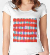 plaid pattern abstract texture in in red blue pink Women's Fitted Scoop T-Shirt