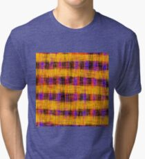 plaid pattern abstract texture in orange yellow pink purple Tri-blend T-Shirt