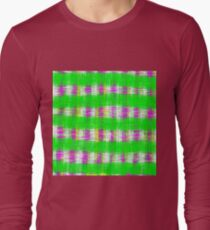 plaid pattern abstract texture in green pink white T-Shirt