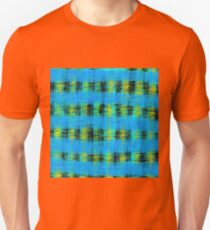 plaid pattern abstract texture in blue yellow black T-Shirt