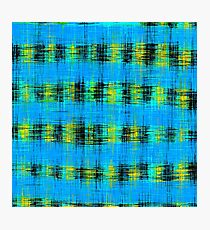 plaid pattern abstract texture in blue yellow black Photographic Print