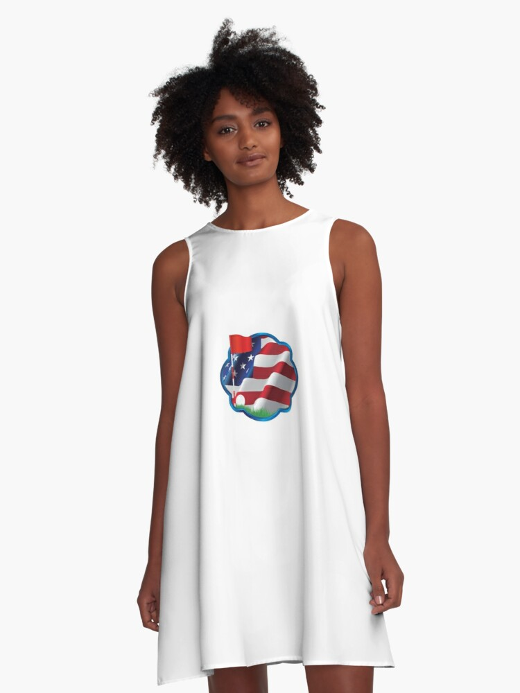 53696a71 American Flag Golf Dad, July 4th - Father's Day Gift A-Line Dress Front