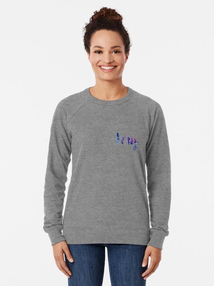 Alternate view of TCNJ sticker: dark blue and purple  Lightweight Sweatshirt