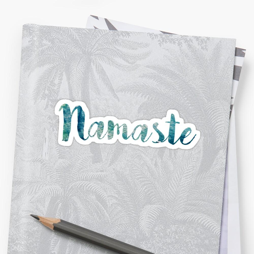 Namaste sticker: watercolor abstract blue green  by Sam Palahnuk