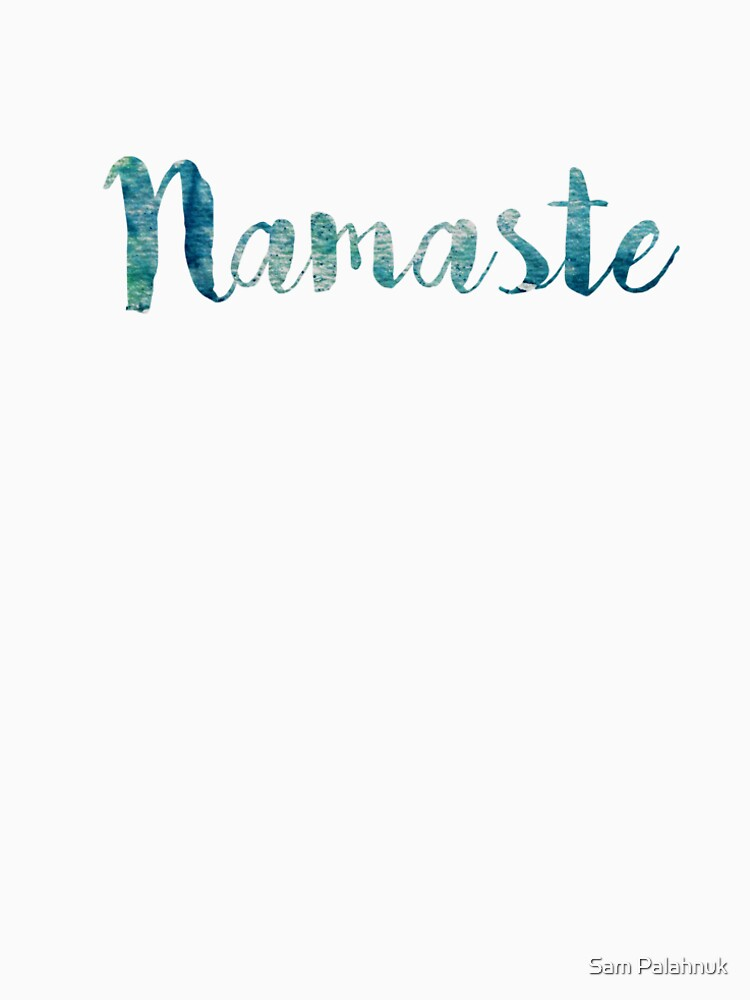 Namaste sticker: watercolor abstract blue green  by sampalahnukart