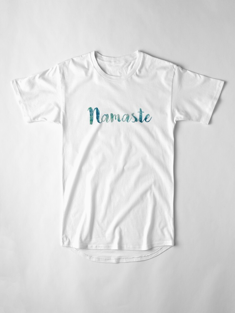 Alternate view of Namaste sticker: watercolor abstract blue green  Long T-Shirt