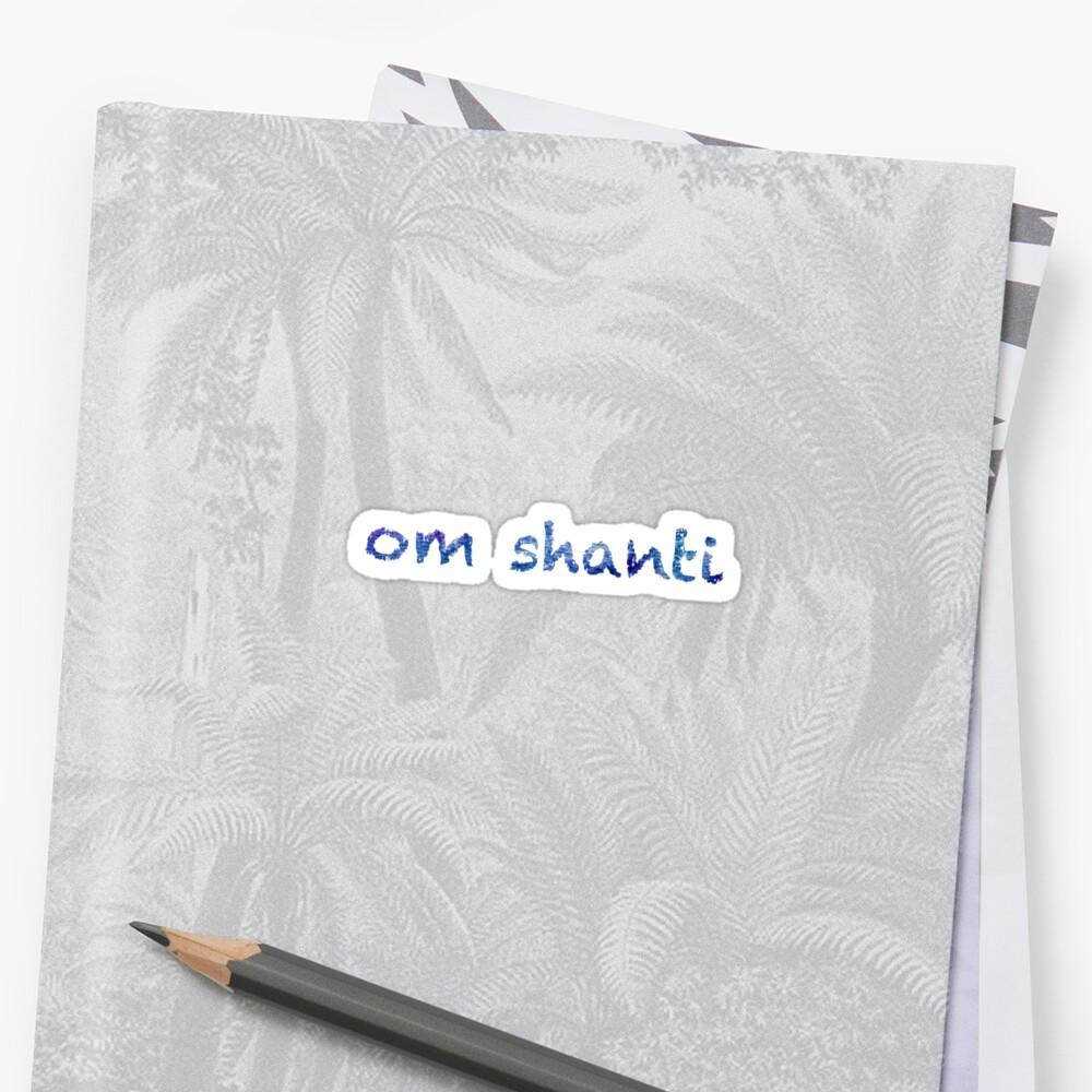 Om Shanti sticker: abstract navy blue pattern, chalky font  Sticker