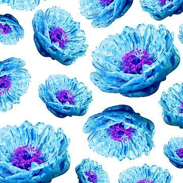 Cyan Blue Flowers Pattern by RachelTilley