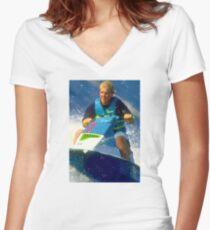 JD on a Jet Ski Women's Fitted V-Neck T-Shirt