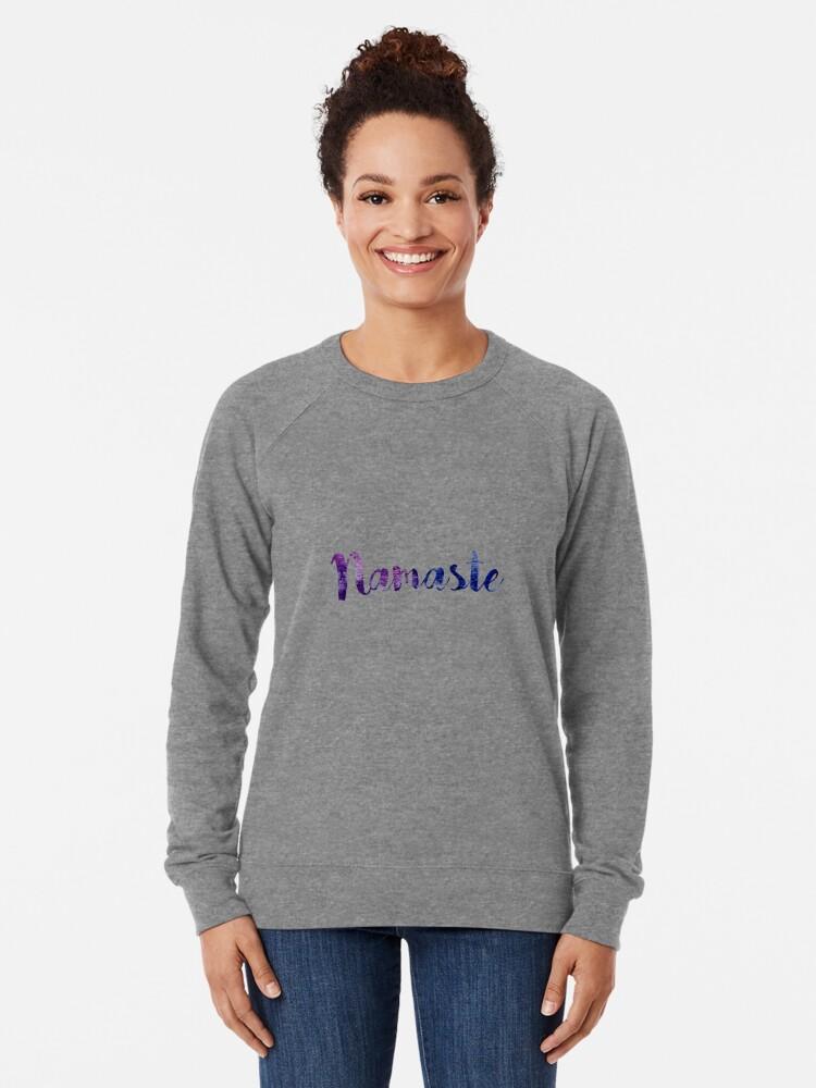 Alternate view of Namaste sticker: dark purple and blue cursive Lightweight Sweatshirt