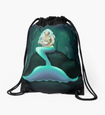 Mermaid Holding Skull Drawstring Bag