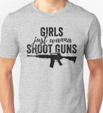 Girls Just Wanna Shoot Guns Silhouette Shirt Design Dark Unisex T-Shirt