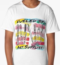 Fueled By Art Supplies - Watercolor Design Long T-Shirt
