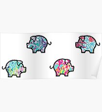 Cute Patterned, Walking Piglets Pack of 4 Poster