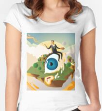 great surrealism painter on big floating eye in island with clocks Women's Fitted Scoop T-Shirt