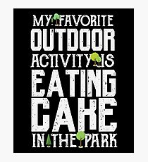 Favorite Outdoor Activity - Eating Cake At The Park - Funny Food Dessert  Photographic Print