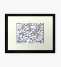 Grey and White Abstract Firework Flowers Framed Print