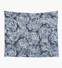 Abstract Navy Watercolor Line Flowers Wall Tapestry