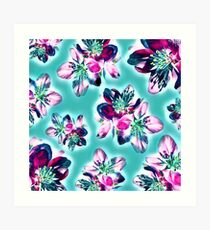 Purple Spring Blossom Pattern Art Print