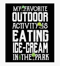 Favorite Outdoor Activity - Eating Ice-Cream At The Park - Funny Dessert  Photographic Print