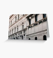 White classical Italian building with decorations  Greeting Card