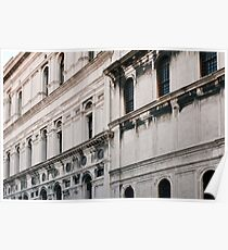 White classical Italian building with decorations  Poster