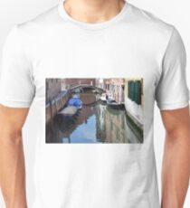 Picturesque scene in Venice, Italy with boats in the canal T-Shirt