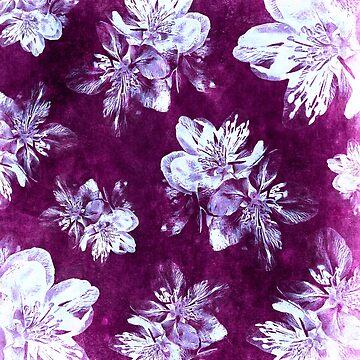 Purple Bohemian Floral Pattern by RachelTilley