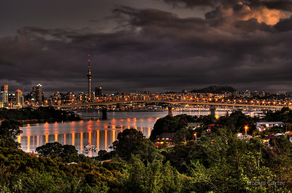 Auckland City  Sunset by Robyn Carter
