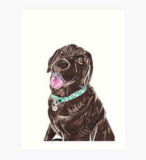 Cute Chocolate Labrador pet dog illustration Art Print