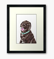 Cute Chocolate Labrador pet dog illustration Framed Print
