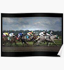 Horses Racing Under Stormy Skies Poster