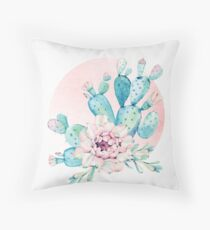 Pretty Cactus Mint Green Pink and Rosegold Desert Cacti Wall Art Throw Pillow
