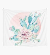 Pretty Cactus Mint Green Pink and Rosegold Desert Cacti Wall Art Wall Tapestry