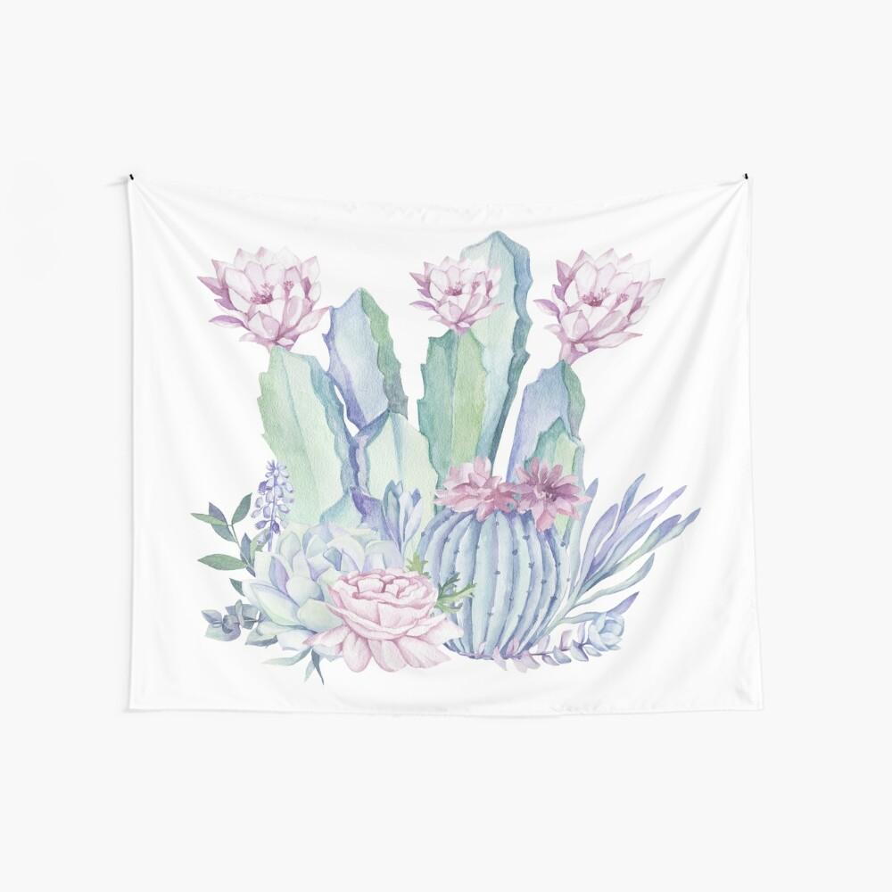 Trendy Kaktus Pink und Mint Green Desert Kakteen Design Wandbehang