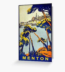 Menton, French riviera, France, vintage travel poster Greeting Card