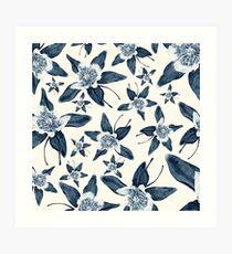 Blue Colorado Columbine Pattern Art Print
