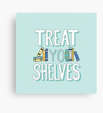 Lienzo Treat Yo Shelves - Libro Nerd Quote - Azul Amarillo
