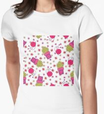 Abstract neon pink green funny snail cactus floral T-Shirt