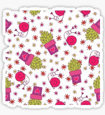 Abstract neon pink green funny snail cactus floral Sticker