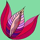 Purple Tulip Pattern on Mint Green Background by CarolineLembke