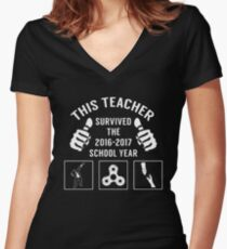 TTEACHER SURVIVED THE 2016-2017 SCHOOL YEAR T SHIRT Women's Fitted V-Neck T-Shirt