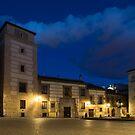 Bright Midnight - Plaza de la Villa in Madrid Spain by Georgia Mizuleva