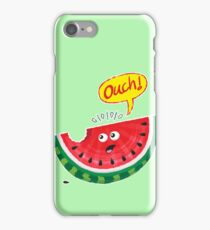 Piece of watermelon expressing pain after a bite iPhone Case/Skin