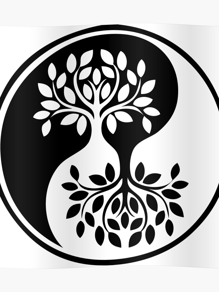 Black And White Tree Of Life Yin Yang Poster