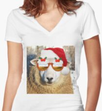 Sheep wearing Christmas Santa Hat and Xmas Pudding Glasses Women's Fitted V-Neck T-Shirt