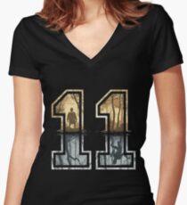 Stranger Things 11 Logo Women's Fitted V-Neck T-Shirt