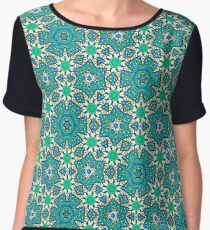 GREEN ABSTRACT PATTERN Women's Chiffon Top