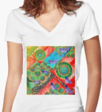 Abstract colorful mandala experiment Women's Fitted V-Neck T-Shirt